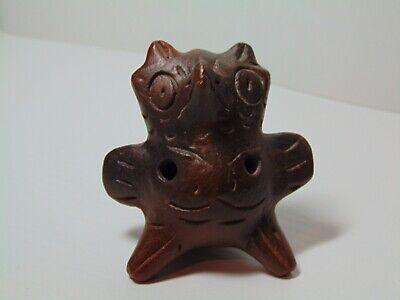 Antique Pre-Columbian Zoomorphic Anthropomorphic Ocarina Flute Pottery
