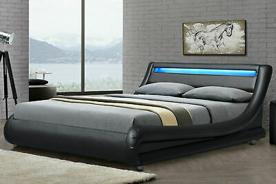 LED Headboard Low Bed Frame Double/King Size Black Faux Leather