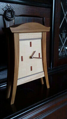 Wooden Mantle Clock Solid woods with dark wood inlay. Decorative clock. Handmade