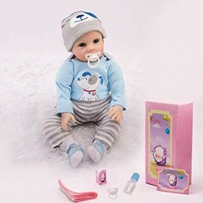 "Reborn Dolls Xmas Gifts Soft Silicone 22"" Realistic Real Life Boy Baby Toddler"