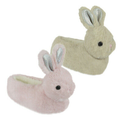 Girls Gorgeous Sparkly Ears Bunny Faux Fur Cosy Lining 3D Novelty Slippers