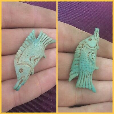 Rare ancient Egyptian blue fish amulet , 300 bc