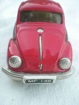 VW Bug Beetle TIN TOY CAR RED FRICTION POWERED