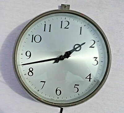 "VINTAGE SYCHRONOME ELECTRIC METAL CASED 11"" WALL CLOCK IN GWO REWIRED VGC c1956"