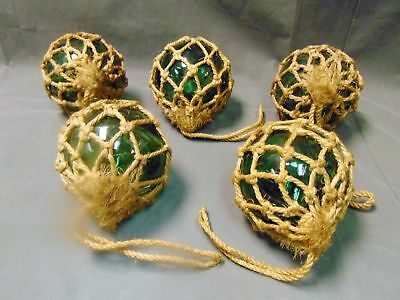 "Lot of 5 VINTAGE 5"" HAND BLOWN GREEN GLASS FISHING FLOATS BUOY IN NET Iceland"