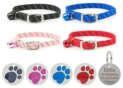 Cat Collar Ancol Reflective Softweave Safety Elastic With 25mm Glitter Id Tag