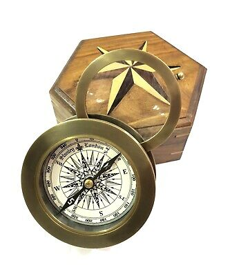 "Antique Brass Compass 3"" with Flip Out Magnifying Glass in Wooden Box Desk Decor"