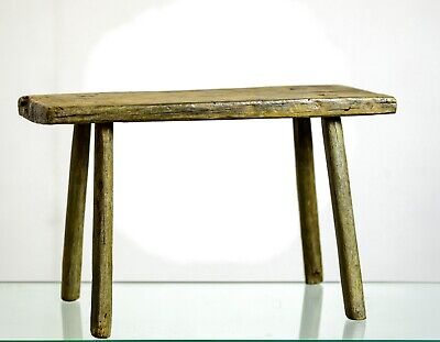 Antique 18th / 19th Century Joint Country Milking Stool in Original Paint