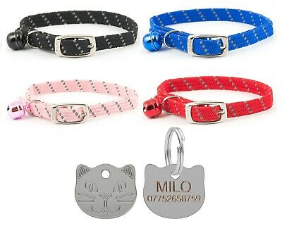 Cat Collar Ancol Reflective Softweave Safety Elastic With 22mm Cat Face Id Tag