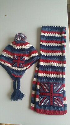 Gorgeous boys Monsoon hat and scarf set. Union Jack. From 5 years