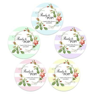 48 x BABY SHOWER PERSONALISED ROUND STICKERS LABELS READY TO POP PARTY FLORAL