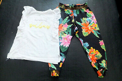 River Island Girls Tropical Top & Bottom Set Great Cond Size 18-24 month