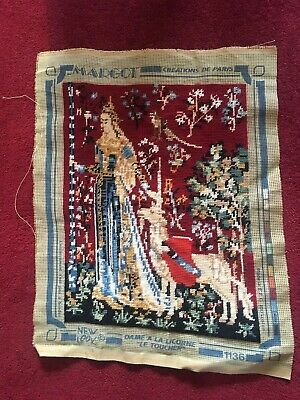 "Margot De Paris Tapestry Completed Lady And Unicorn ""Le Toucher"" 1136"