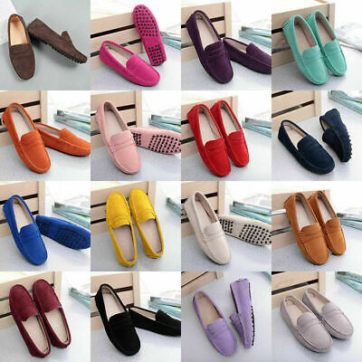 Womens Driving Moccasins Shoes Suede Leather Loafers Casual Peas Flats Slip On