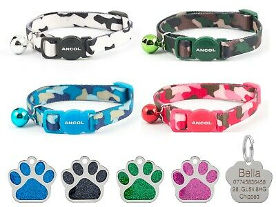 Cat Collar Ancol Camouflage, Safety Quick Release, With 27mm Glitter Id Tag
