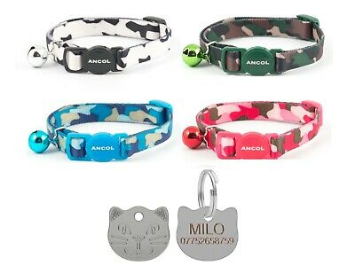 Cat Collar Ancol Camouflage, Safety Quick Release, With 22mm Cat Face Id Tag