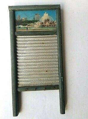 "Decorative DUBL HANDI Washboard Small 18"" Painted Key Towel Holder"