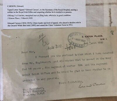Original Signed Letter - Sir Edward Carson - Ulster Unionist Leader -