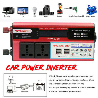 Peak 6000W Home Car Solar Power Inverter DC12V To AC110V USB Sine Wave Converter