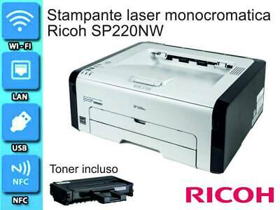 Ricoh SP220NW Stampante Laser Bianco / Nero A4 23 PPM Wi-Fi NFC