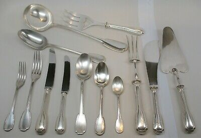 Christofle France Godrons Silverplate 94 pc Flatware Set for 12 + Service Pieces