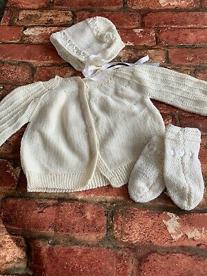 Baby Girls Cream Knitted Vintage Cardigan Mittens And Bonnet Hat Set 0-3 Months