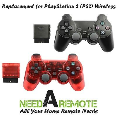 2x For Sony PS2 2.4G Wireless Twin Shock Game Controller Joystick Black Red