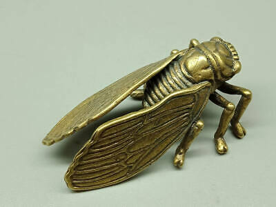 Chinese Antique Rare Collectible Old Copper Handwork Vivid cicadas Statue ..