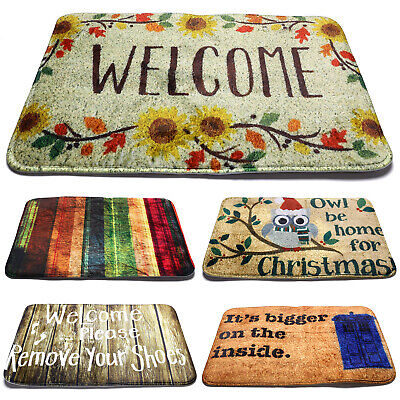 Welcome Rectangular Door Mat Design Anti Slip Kitchen Outdoor Indoor Floor UK