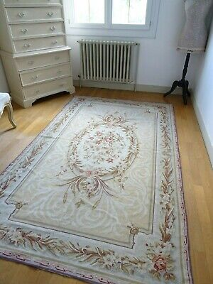 FRENCH AUBUSSON RUG 100% wool NEEDLEPOINT shabby chic ROSES hanging TAPESTRY