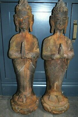 Pair Large (92 cm Tall) Chinese/Tibetan Antique Carved / Painted Buddhas,c 1890