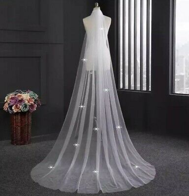 UK White Ivory 1 Tier Crystal 2M or 3M Wedding Veil Cut Edge With Comb