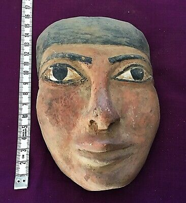Rare ancient Egyptian Gold  faience Hanging Stone Face mask  c300 /600 bc .