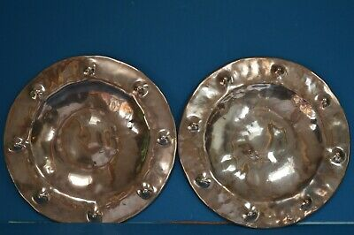 Pair Antique Arts and Crafts Decorative Copper Chargers/Plates, c1900