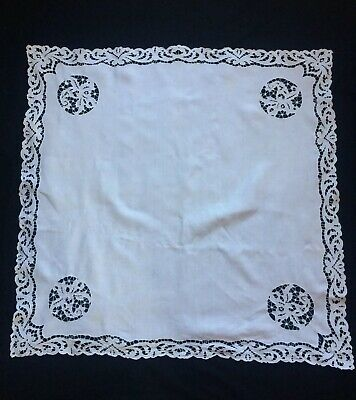 OLD VINTAGE LACE TABLE CLOTH,CUT LACE WORK LOVELY PRETTY DESEIGN,88x88CM