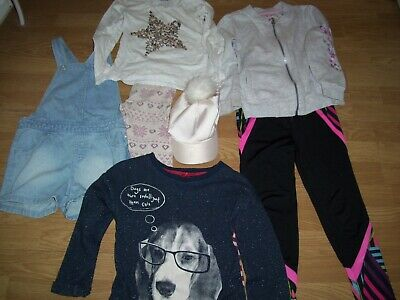 Girls winter bundle of clothing.Age 6/7 years.Leggings,dungarees, tops, cap.