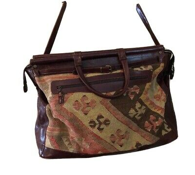 Tapestry Leather Weekender Duffel Large Overnight Train Mary Poppins Bag Vintage