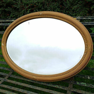 Late Victorian Oval Gilt Framed Wall Mirror C1900 (Antique)