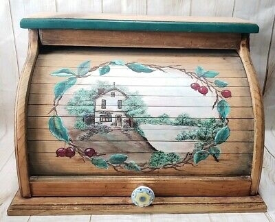 "Vintage Roll Top All-Wood Breadbox Hand Painted Primitive Country 17""x12""x11"""