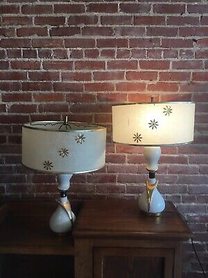Pair Vintage Ceramic Ivory Gold Table Lamps Mid Century FIBERGLASS SHADES Flower