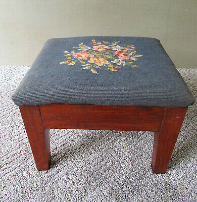 """Antique Foot Stool Needlepoint Fabric Floral Design Vintage Footstool, 12"""" x 10"""""""