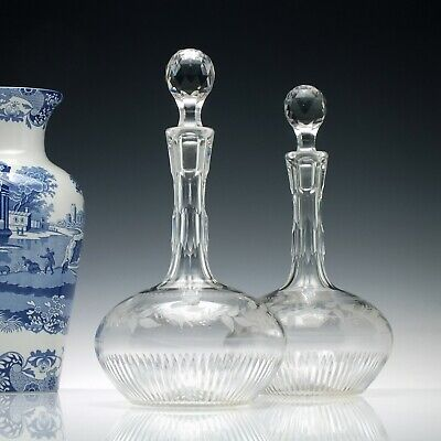 Pair of Victorian Shaft & Globe Engraved Glass Decanters c1880