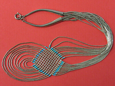 Vintage 1980s Liquid Silver and Turquoise Native American Necklace