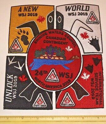 Shining Waters Council 5 pc Set Contingent Badge 2019 24th World Scout Jamboree