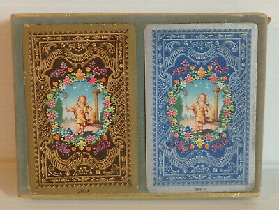 VINTAGE Mid-Century DOUBLE DECK SEALED CONGRESS PLAYING CARDS Angelic Garden Art