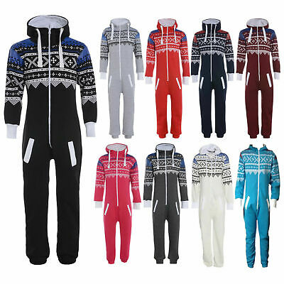 Kids Boys Girls Aztec Plain Hooded 1Onesie All In One Jumpsuit Sizes 1-16 Years