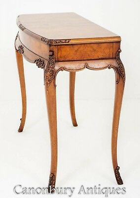 Burr Walnut Console Table - Glove Tables Antiques