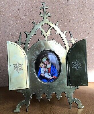 Antique 19 century French porcelain icon Madonna Mary baby Jesus brass triptych
