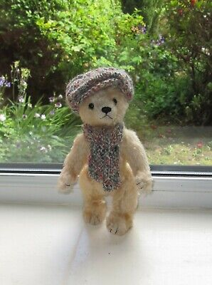 New Teddy Clothes Hand Knitted Tweed Flat Cap & Scarf To Fit A 8 Inch Bear