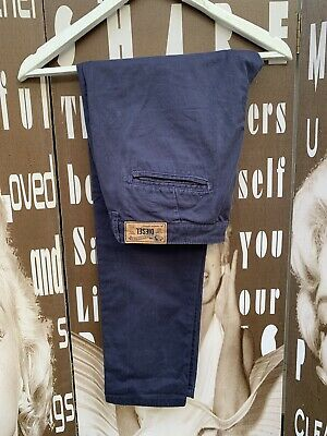 """Girls Diesel Chinos Trousers Blue Logo 100% Cotton Waist 28"""" Length 26"""" Age 16"""